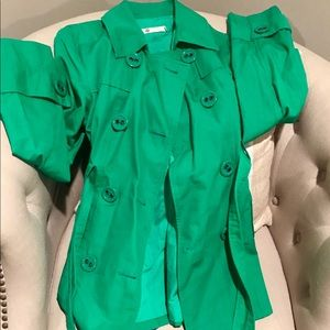 EUC, green Tulle trench coat, size XL